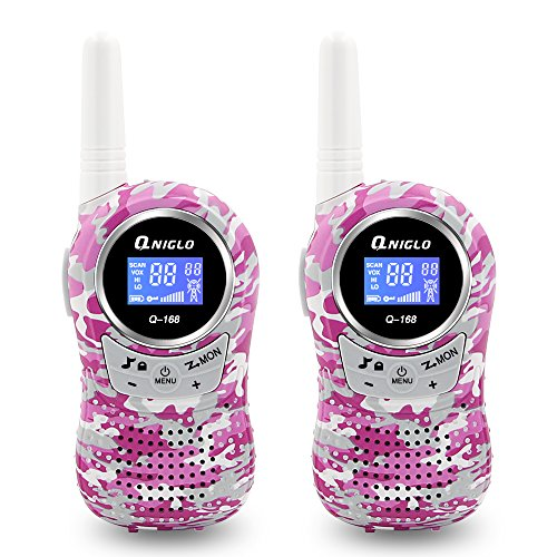 Qniglo Walkie Talkies for kids,22 Channel FRS 3 Miles Long Range Kids Walkie Talkies Toys for Girls or Boys (2 PCS,Camo Pink)
