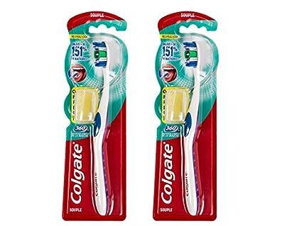 Colgate 360° - Cepillo de dientes manual (dureza suave, 2 unidades)
