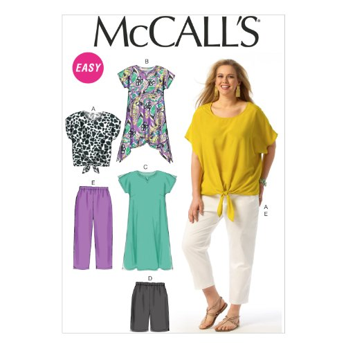 """McCall Pattern Company M6971 Women's Top, Tunic, Dress, Shorts and Pants, Size RR """"18W-20W-22W-24W"""" from McCall Pattern Company"""