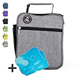 Healthy Packers Insulated Lunch Box for Adults and Kids w/ 2 Slim Long Lasting Ice Packs - Professional Work Lunch Bag for Men and Women - Heavy Duty School Lunchbox for Boys and Girls (Dark Grey)