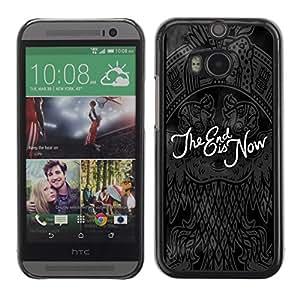 Cubierta de la caja de protección la piel dura para el HTC ONE M8 2014 - End black quote dark Goth emo