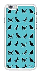 Blue Pattern Kitty Cat Snap-On Cover Hard Plastic Case for iPhone 6 (White)