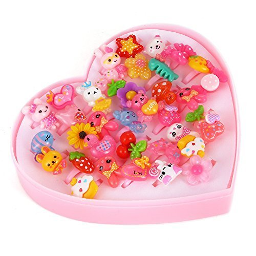 Princess Jewelry Rings Value Set for Kids Birthday Party Supplies, Pack of 36Pcs ()