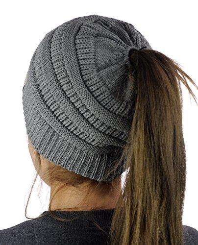 C.C BeanieTail Cotton Blend All Season Daily Messy High Bun Ponytail Beanie Hat, Light Melange Gray