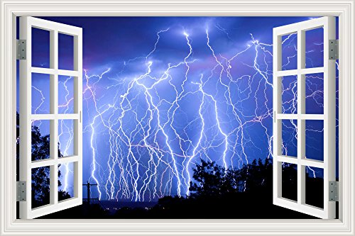 GreatHomeArt Removable Wall Sticker Decor Art-Lightning Strike Window View Removable 3D Wall Decal for Bathroom Wallpaper Peel and Stick- 32x48 inches - Lightning Window Graphic