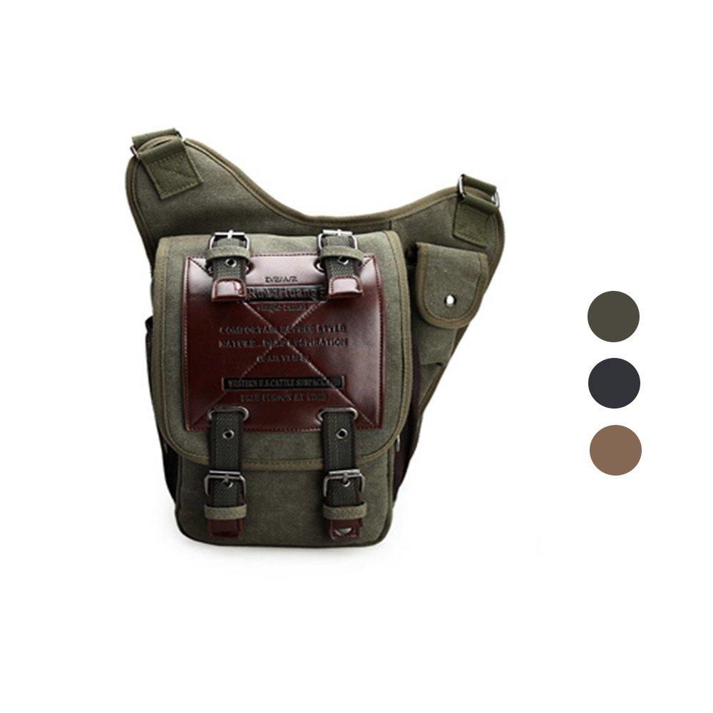 Chikencall Mens Boys Vintage Canvas Bags Retro Casual Shoulder Bag Leather Single Shoulder Cross Body Bag Military Messenger Bag Sports School Travel Hiking Satchel