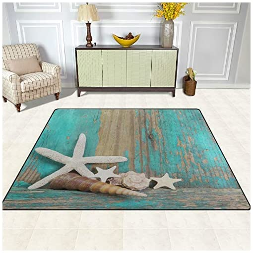 Beach Rug 5x7 Large Ocean Area Rugs For Living Room Bedroom Ocean Beach Theme Decor Starfish And Seashells On Shabby Wooden Background In Turquoise Beachfront Decor