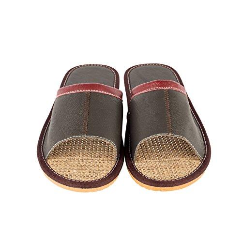 Haisum Tb007-m - Zapatillas de estar por casa de Piel Sintética para hombre marrón oscuro