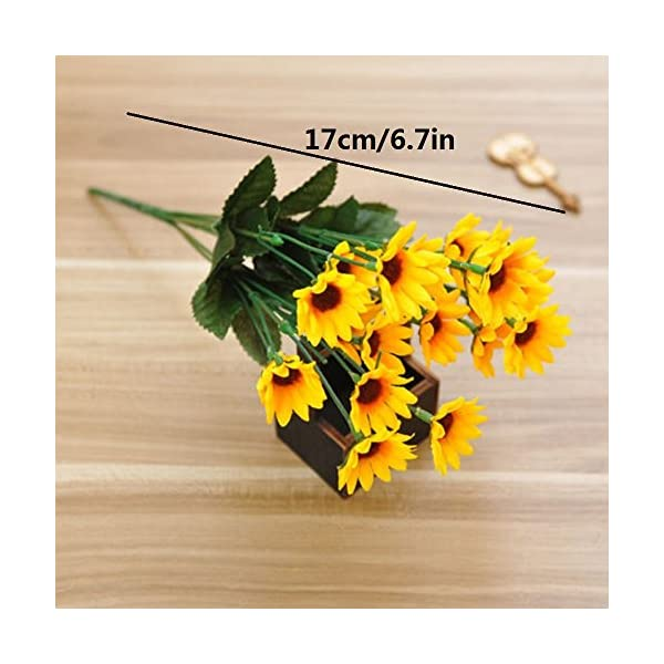 ORYOUGO Artificial Silk Sunflower 14-Stems Flowers Bouquet Bride Bridesmaid Holding Flowers for Home Decoration Hotel Office Wedding Party Garden Craft Art Decor,3 Pack