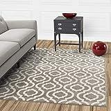 Diagona Designs Contemporary Geometric Moroccan Trellis Design 8' X 10' Area Rug, 94'' W x 118'' L, Grey/Ivory (JAS2033)