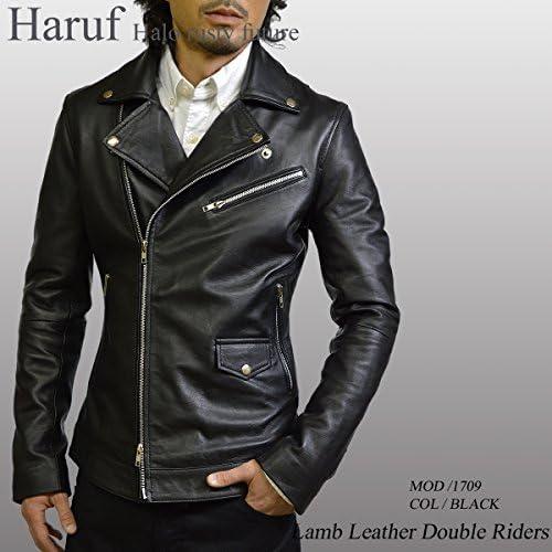 (ハルフ)Haruf ライダースジャケット 革ジャン メンズ 本革 ダブル ライダース バイク 黒 1709bk