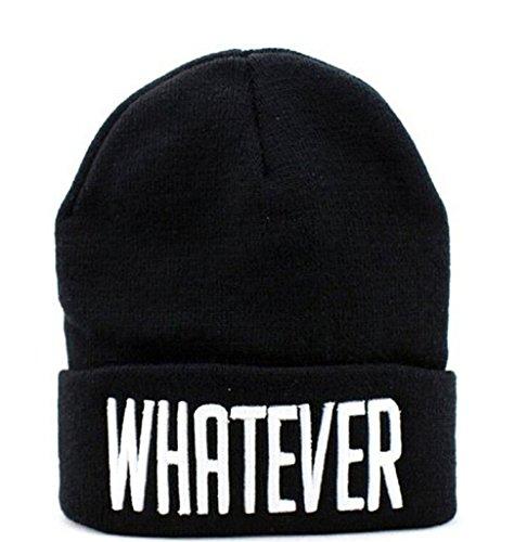 (UNKE Winter Knit Black Whatever Beanie Hat Letter Beanie)