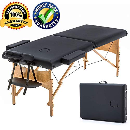Massage Table Portable Massage Bed Spa Bed 73″ L x 28″ W Height Adjustable Massage Table 2 Folding Massage Bed Spa Bed Facial Cradle Salon Bed W/Carry Case