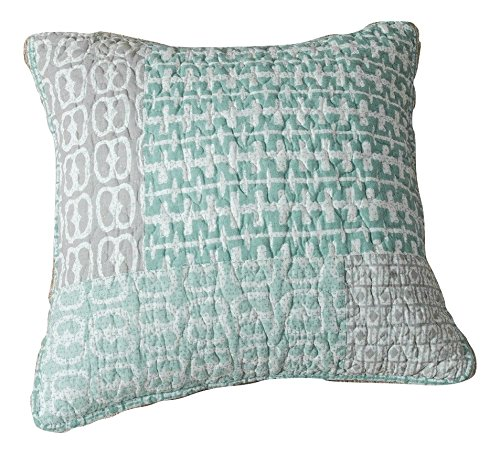 DaDa Bedding Contemporary Geometric Textured Patchwork Quilted Square Pillow Accent Cushion Cover - Mint Green Grey Print - 18
