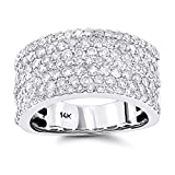 Luxurman 14K Seven Row Ladies Natural Diamond Ring Band (White Gold Size 6)