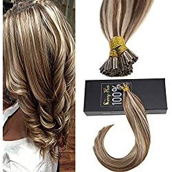 Sunny 16inch I Tip Extensions Pre Bonded Human Hair Light Brown Highlighted Blonde Cold Fusion Human Hair Extensions 50g