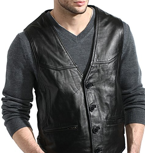 Tanners Avenue Men's Black Genuine Lambskin Leather Vest - Button - Leather Vest Avenue