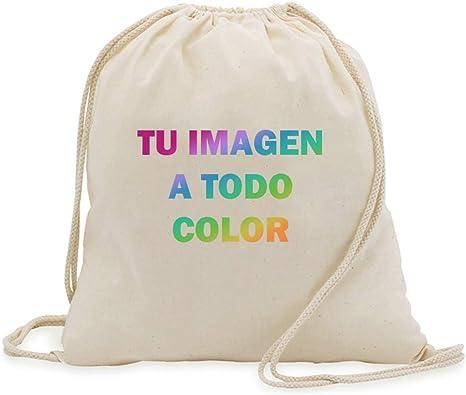Promo Shop Bolsa/Mochila de Cuerdas 100% algodón. Personaliza con tu fotografía o Imagen Favorita.: Amazon.es: Deportes y aire libre