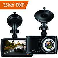 Dash Cam 3.5' Car camera - BUIEJDOG Car Camcorder 1080P LCD Display Recorder with 170 Degree Viewing Angles Built-in G-Sensor Night Vision Recording Loop Recording (3.5 dash cam)