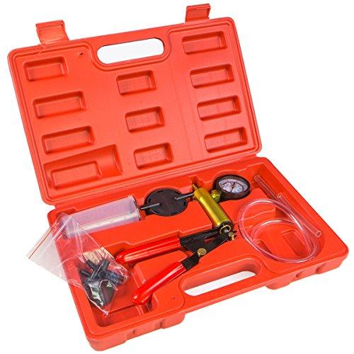 Bleeder Vacuum (XtremepowerUS Brake Fluid Bleeder Hand Held Vacuum Pistol Pump Tester Kit + Adapters w/ Case)