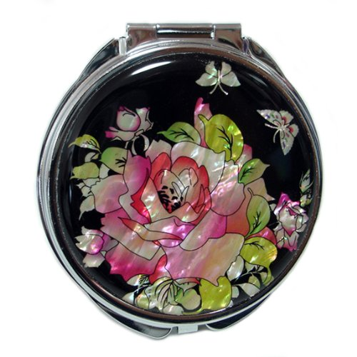 Mother of Pearl Red Rose Design Compact Cosmetic Purse Makeup Hand Mirror,3.2 Ounce