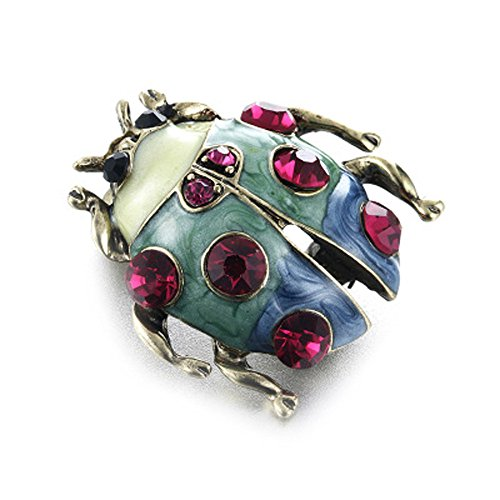 Botrong® Fashion Enamel Rhinestone Ladybug Insect Brooch Pin for Women jewelry (Style A)