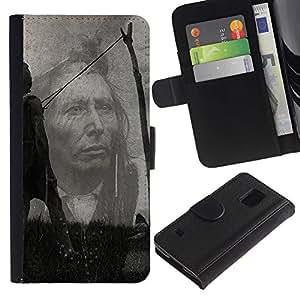 """A-type (Americano tribal nativo"""") Colorida Impresión Funda Cuero Monedero Caja Bolsa Cubierta Caja Piel Card Slots Para Samsung Galaxy S5 V SM-G900"""