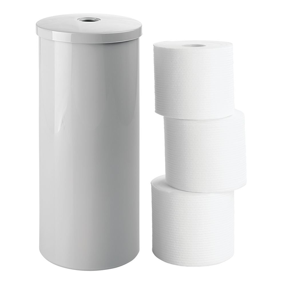 mDesign Modern Plastic Toilet Tissue Paper Roll Holder Canister Stand with Lid - Vertical Bathroom Storage for 3 Rolls of Toilet Tissue - Holds Large Mega Rolls - Black MetroDecor 5431MDBST