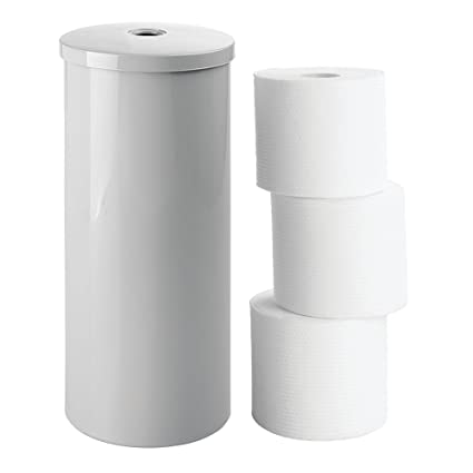 MDesign Modern Plastic Toilet Tissue Paper Roll Holder Canister Stand With  Lid   Vertical Bathroom Storage