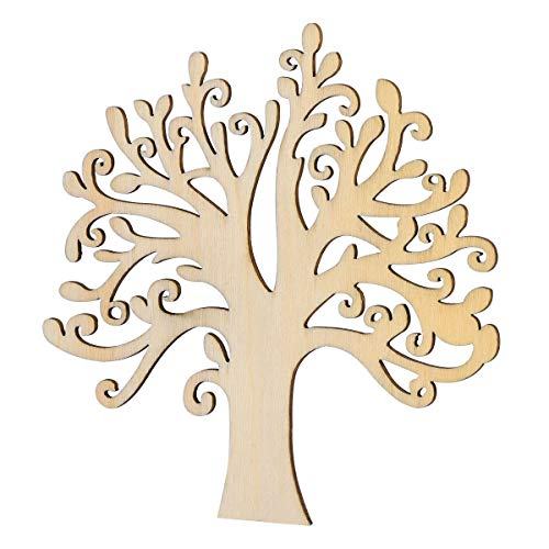 VORCOOL Wooden Tree Embellishments,10 Pcs Blank Wooden Tree Embellishments for DIY Crafts Decoration]()