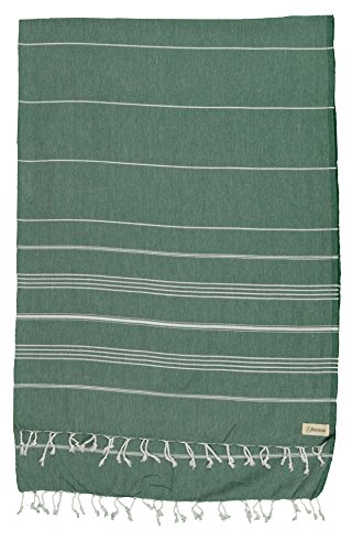 Bersuse 100% Cotton - Anatolia XL Throw Blanket Turkish Towel Pestemal - Bath Beach Fouta Peshtemal - Multipurpose Bed or Couch Throw, Table Cover or Picnic Mat - Striped - - Linen Striped Towel