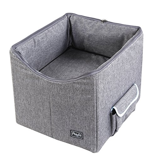 Petsfit Pet Booster Seat/Lookout Car Seat for Small Dogs and Cats up to 15 Pounds,With Pockets (Gray) 15''Lx16''Wx14''H Small by Petsfit (Image #3)