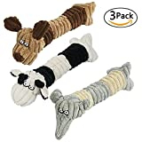 DC-BEAUTIFUL 3 Pack Dog Toy Chew Teeth Toy Long Slim Squeaky Dog Plush Toy Interactive Long Pet Toy