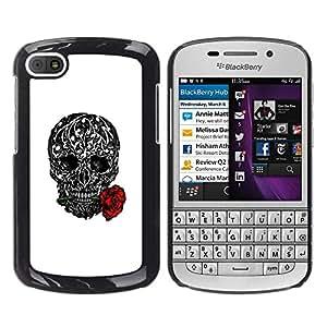 GOODTHINGS Funda Imagen Diseño Carcasa Tapa Trasera Negro Cover Skin Case para BlackBerry Q10 - amor subió tatuaje de tinta metal blanco negro