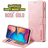 for Samsung Galaxy A20 LC IMEEKE Luxury Wallet Leather Card Holder Flip PU Magnetic Protective Heavy Duty Gel Shockproof Case Cover (Rose Gold)