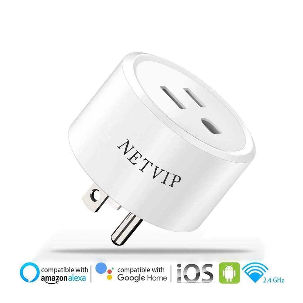 Netvip Smart WiFi Plug Outlet Compatible with Alexa and Google Home & IFTTT, Remote Control Your Home Appliances from Anywhere, Voice Control and Timer Function Wireless Socket, No Hub Required
