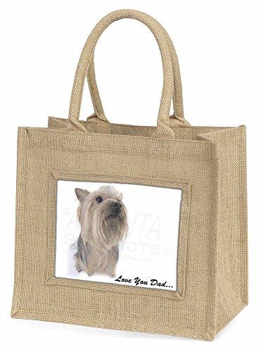 Advanta dad-137bln Yorkshire Terrier LOVE YOU Dad Große Einkaufstasche/Weihnachten Geschenk, Jute, beige/natur, 42x 34,5x 2cm