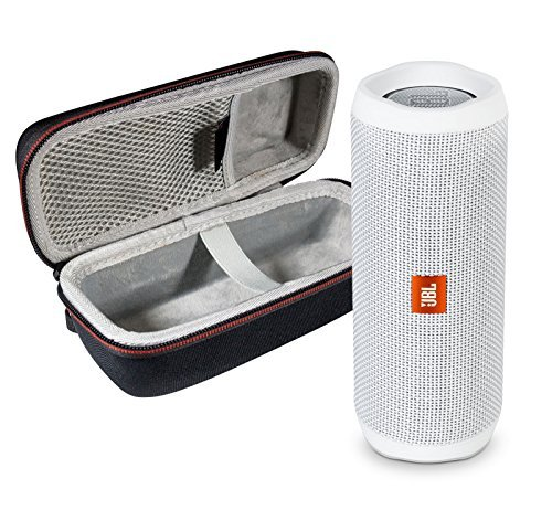 JBL Flip 4 Portable Bluetooth Wireless Speaker Bundle with Protective Travel Case - White ()