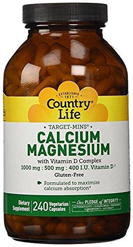Country Life Target Mins - Calcium Magnesium with Vitamin D-Complex - 240 Vegetarian Capsules