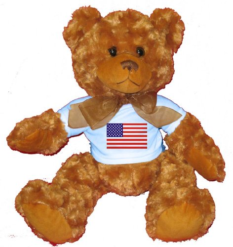 American Flag Teddy Bear T-shirt (AMERICAN / USA FLAG Plush Teddy Bear with BLUE T-Shirt)