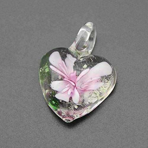 Loune Week 12pcs/lot Charming Noctilucent Heart Lampwork Glass Pendants Flower Murano Glass Charms for Necklace Earrings MC29 ()