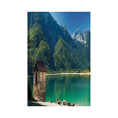 Polyester Garden Flag Outdoor Flag House Flag Banner,Italy,Predil Alpine Lake North Italy Slovenian Border Julian Alps Idyllic Scenery Decorative,Sea Green Blue Ivory,for Wedding Anniversary Home Outd]()