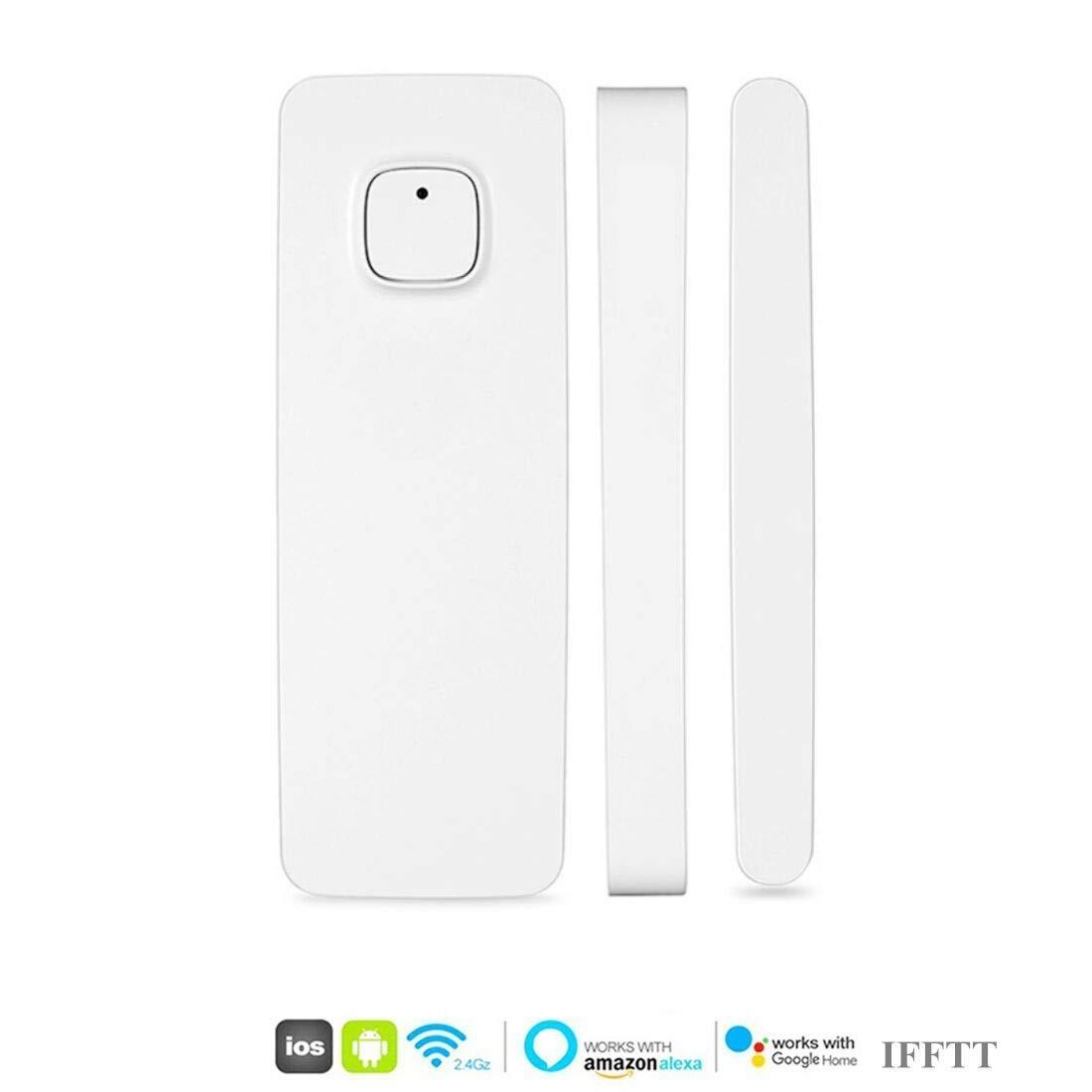El detector de sensor de imán de puerta de ventana inteligente funciona con Alexa Google Home IFTTT para el sistema de alarma de seguridad antirrobo(paquete de 1)