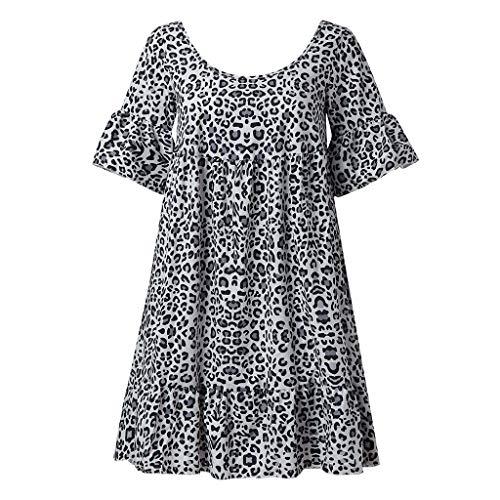(♛HebeTop♛ Womens Leopard Printed Wrap Dress Plus Size Short Sleeve Dresses Gray)