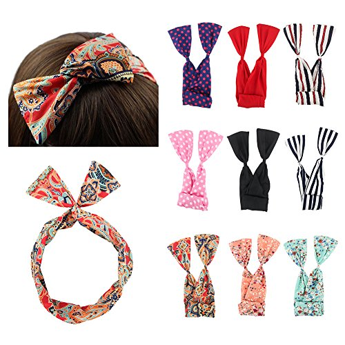 Carede Twist Bow Wire Headbands Head Wrap Fashion Bowknot Polka Dot Lattice Floral Printed Rabbit ear Wire Hairbands Hair Holder Hair Accessory for Women and Girls,Pack of 9