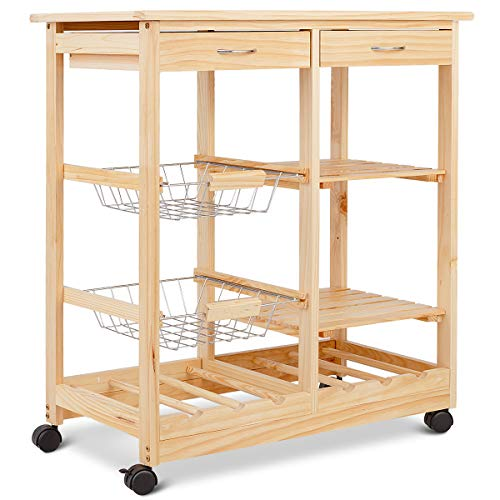 Giantex Rolling Wood Kitchen Trolley Cart Island Shelf w/Storage Drawers Baskets Dining Portable Stand (Natural) For Sale