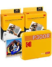 Kodak P300R Mini 3 Bluetooth mobiele printer, 6 cartridges inbegrepen, 76x76 mm vierkante instant foto's, compatibel met iOS en Android, Geel