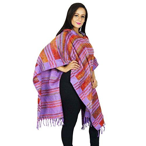 Lana Del Poncho Mezcla Con Ropa De Invierno Largo Capó Ropa Top Boho De Las Mujeres Más Tamaño Regalo Para Ella Púrpura-3