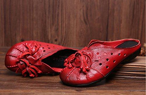 Soojun Kvinna Läder Klippa Ut Komfort Halka På Tofflor Stil 1-red