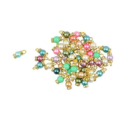 - Baosity 50pcs Rhinestone Glass Pearl Charms Pendants Drop Jewellery Making Supplies - Gold
